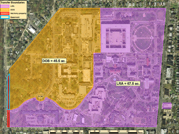 This satellite image shows how the Walter Reed Campus will be divided between the District of Columbia (purple) and the State Department (yellow). The District's 67-acre portion includes both the old and new hospital buildings.