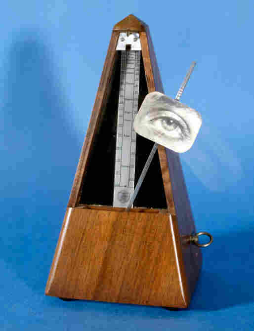 """Ray's Indestructible Object was a metronome made with a print of Miller's eye. """"You would wind up the metronome and watch the eye tick back and forth as long as you could stand it,"""" explains Phillip Prodger. Originally made 1928, it was destroyed in Paris in 1957. A replica is shown above."""