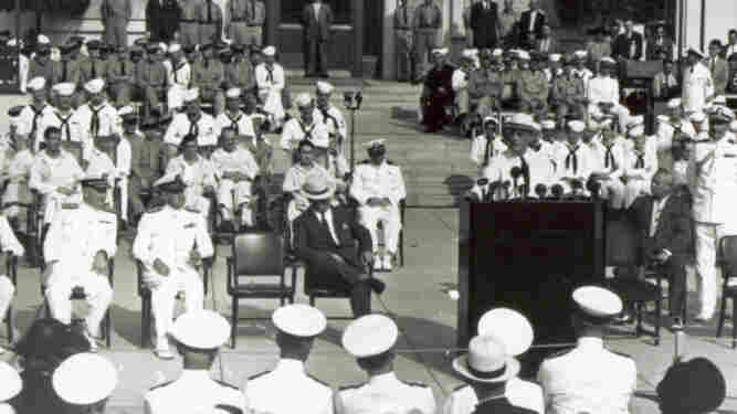 President Franklin D. Roosevelt speaks at the dedication of the Naval Medical Center in Bethesda, Md., in 1942.