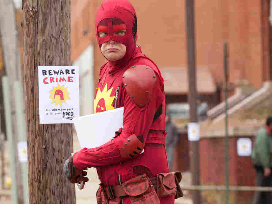 Rainn Wilson starred as the Crimson Bolt in Super, which came out on DVD and Blu-Ray last week. Like Griff, the Crimson Bolt is a man in the real world who decides instead to inhabit a world where he can fight crime.