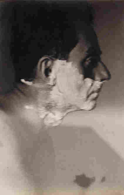 Miller created this gelatin silver print, titled Man Ray Shaving,  in 1929.