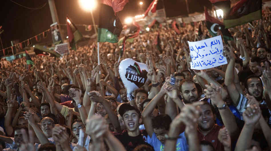 Tens of thousands of Libyans celebrate what the rebels claim to be the first uprising in Tripoli against Moammar Gadhafi's regime on Sunday at freedom square in Benghazi, Libya.