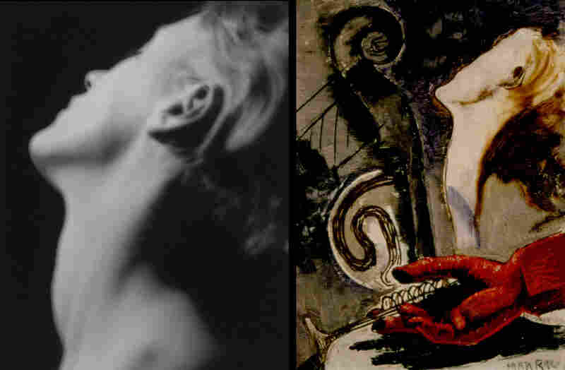 Ray's 1930 photograph of Miller's neck, (left), resonates in his 1931 painting Logis de l'artiste (The Artist's Home).