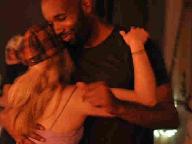 A couple dances at the Polish Club in San Francisco, which hosts a night of blues dancing every Monday.