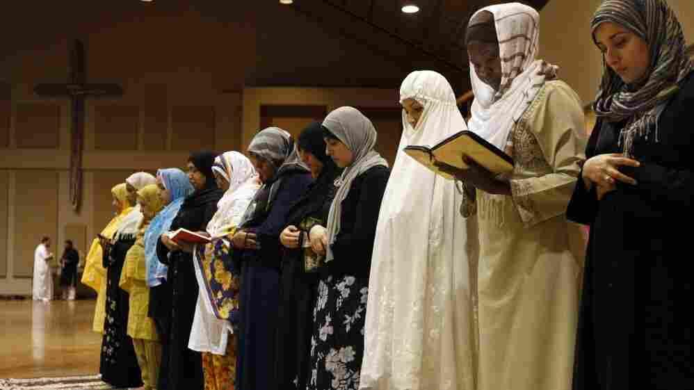 Members of the Memphis Islamic Center pray at Heartsong Church in Cordova, Tenn., last year.