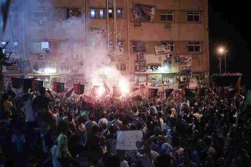 Crowds celebrate in Freedom Square in Benghazi, Libya, on Sunday.