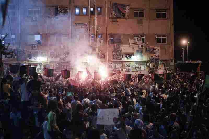 Crowds celebrate in Freedom Square in Benghazi, Libya, on Sunday.