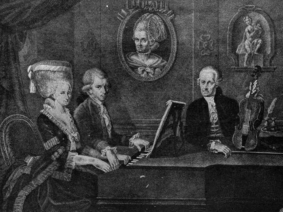 A 1779 portrait of the Mozarts: Nannerl, Wolfgang and their watchful father Leopold.