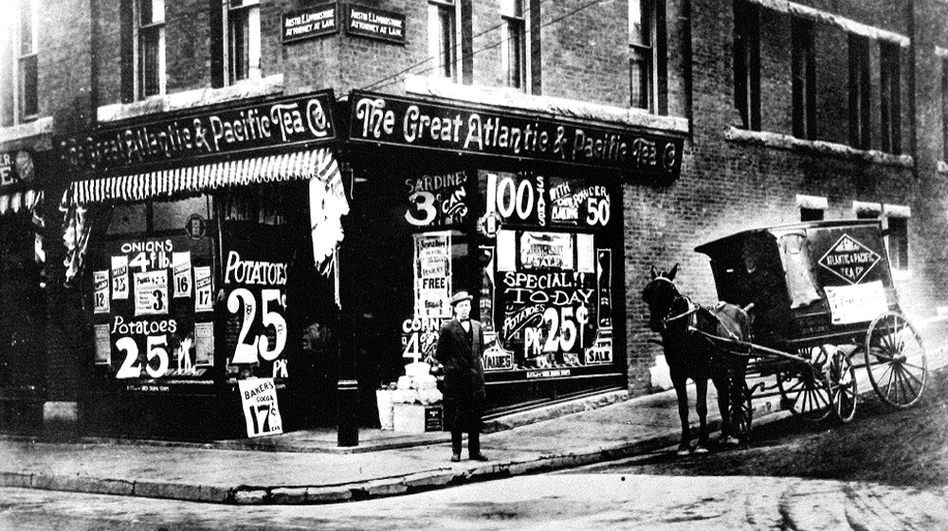Brothers George and John A. Hartford opened the first A&P Economy Store in 1912. This storefront photo dates from around 1915. (Hartford Family Foundation)