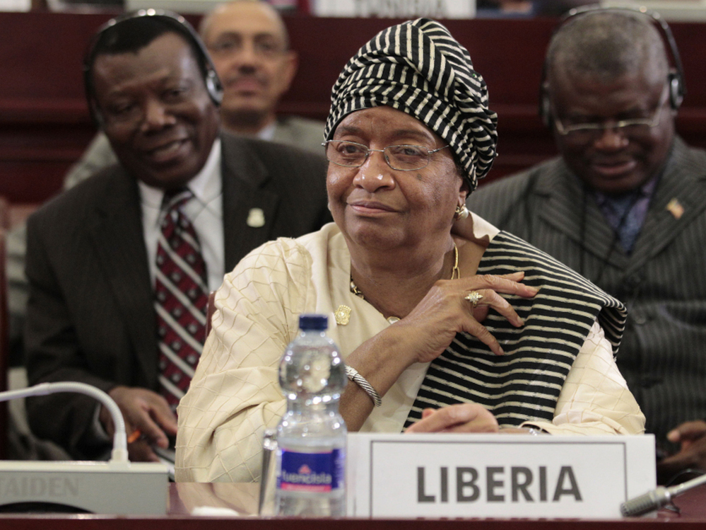 Liberian President Ellen Johnson Sirleaf looks on during the closing session of the 17th African Union Summit, at Sipopo Conference Center, outside Malabo, Equatorial Guinea, Friday, July 1, 2011. The president has said she will run for a second term.