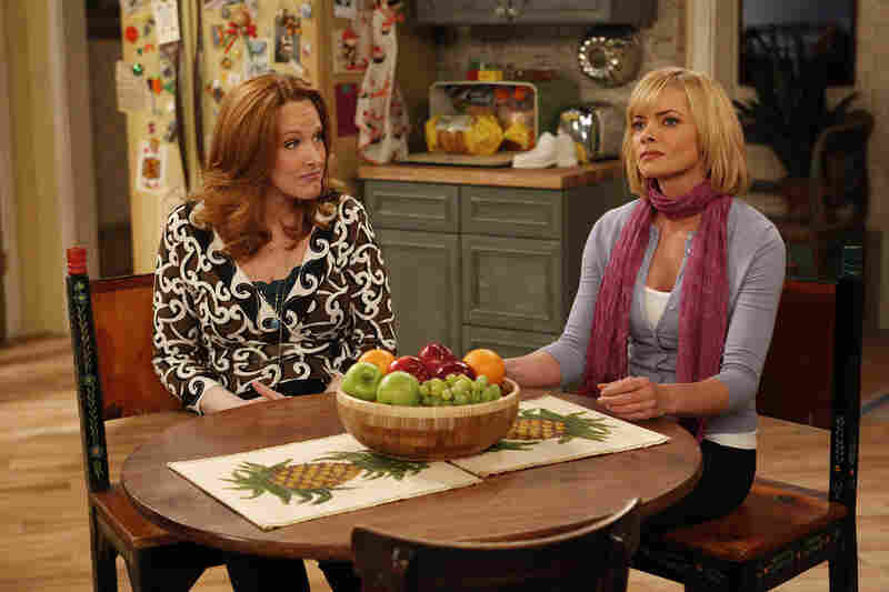 """Jaime Pressly, who won an Emmy for My Name Is Earl, seen here with Tony Award winner and one-time Wonderfalls star Katie Finneran, will be on Fox's I Hate My Teenage Daughter, as a mom who fears that her daughter is turning into a so-called """"mean girl."""""""