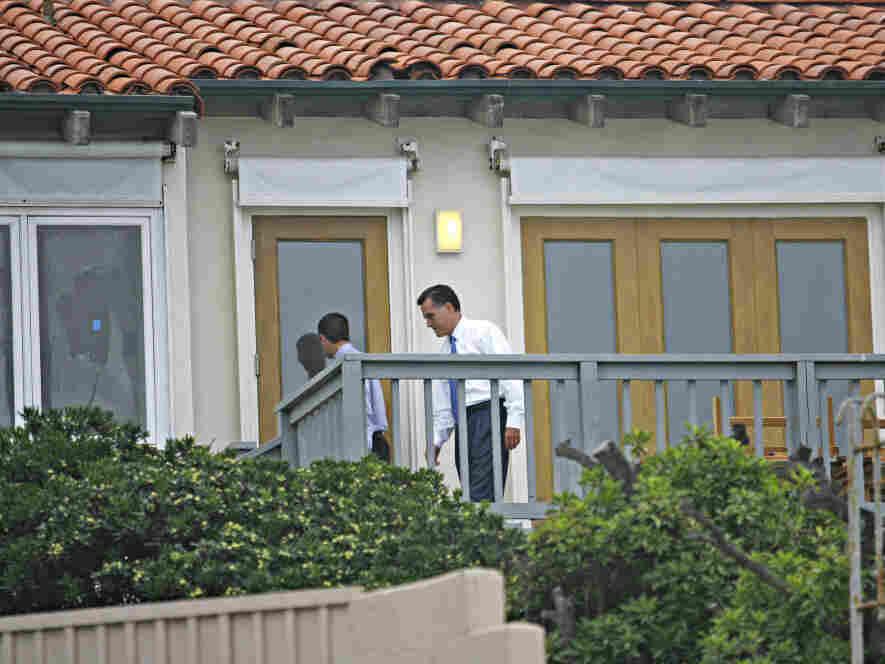 Gov. Mitt Romney entering his La Jolla, Calif. beach house, Aug. 28, 2008.