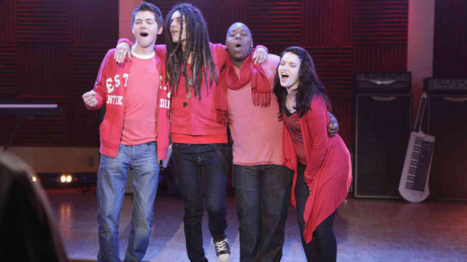 Damien, Sam, Alex and Lindsay of The Glee Project.