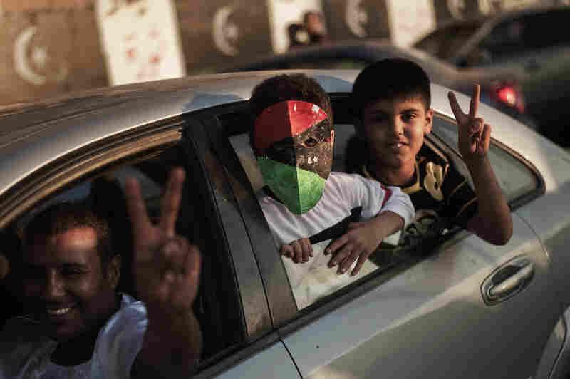 Libyans celebrate in Benghazi.