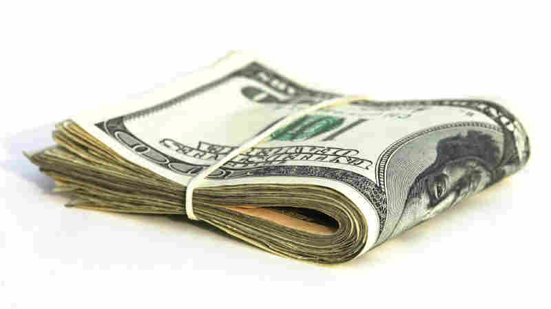 A bundle of U.S. currency.