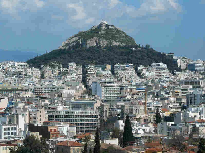 According to myth, Mount Lycabettus — Athens' highest hill — was created when the goddess Athena accidentally dropped part  of a mountain she had been carrying to the Acropolis.
