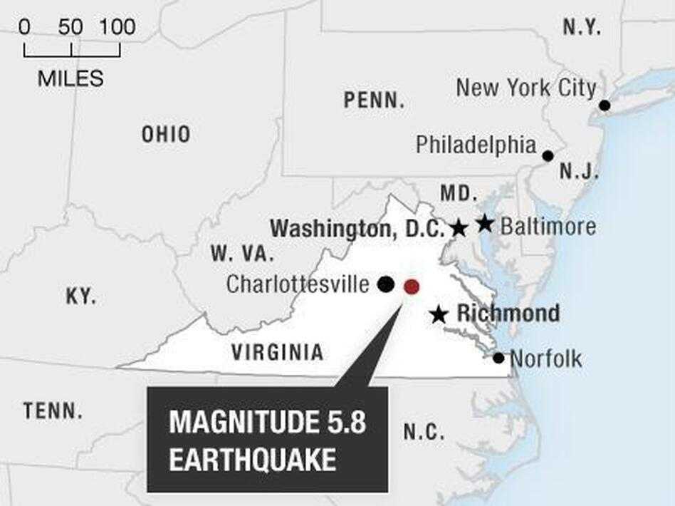 The quake's epicenter was in north central Virginia. (NPR)
