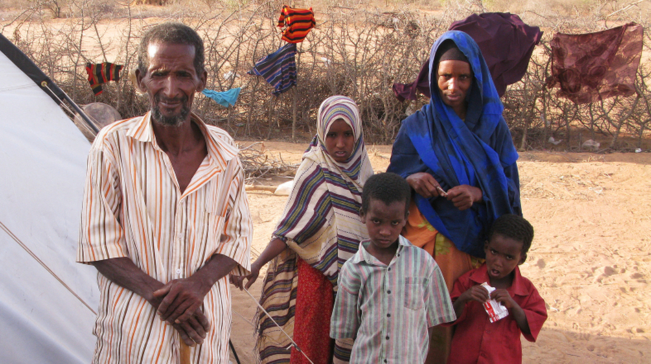 Nur Bule Ali and his  family, who fled from Mogadishu, Somalia's capital, have lived at Dadaab refugee  settlement for the past eight months and moved to this tent in the Ifo-2 camp this past week. (NPR)