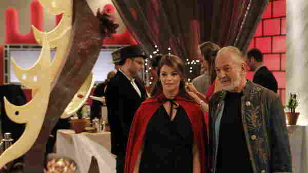 Judges Gail Simmons and Hubert Keller look upon someone's creation on Top Chef: Just Desserts.