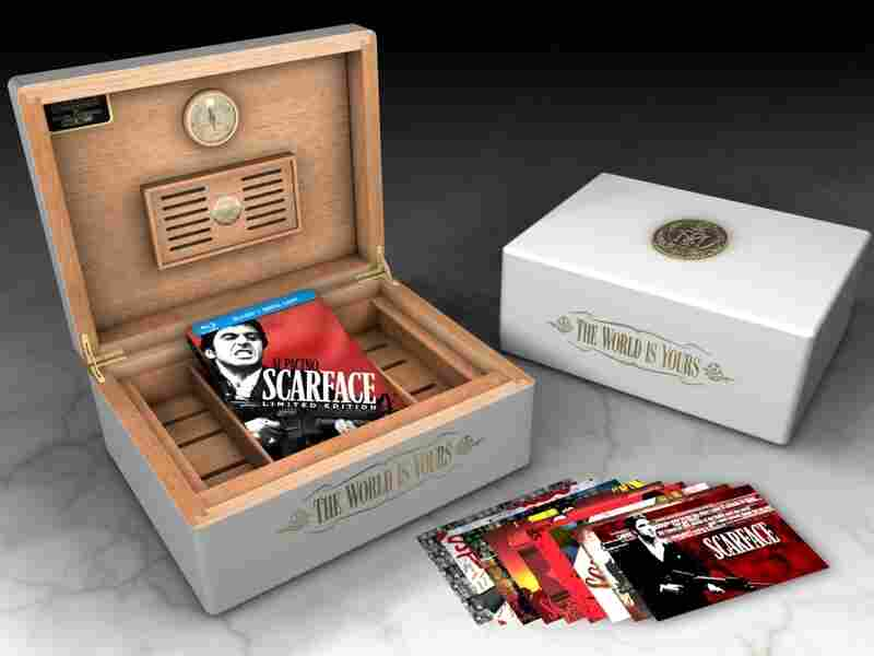 Universal has released a metal-encased Blu-ray Scarface Limited Edition Steelbook and a Scarface Limited Edition Humidor.
