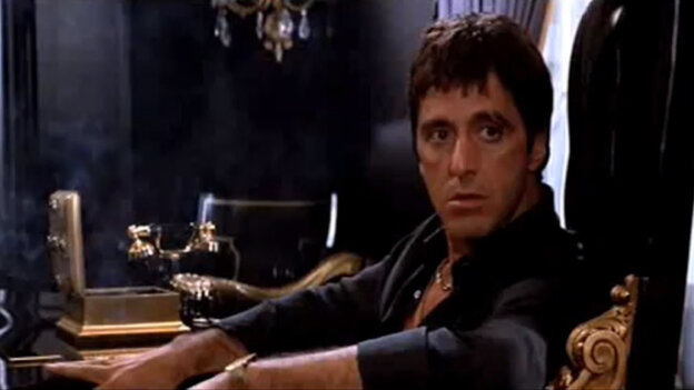 """In the 1983 gangster film Scarface, Al Pacino gave a """"performance the size of a Caribbean cruise ship,"""" says critic John Powers."""