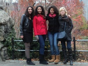 Author Susan Straight and her daughters in Central Park in November 2010. From left to right: Gaila Sims, Delphine Sims, Rosette Sims and Susan Straight.