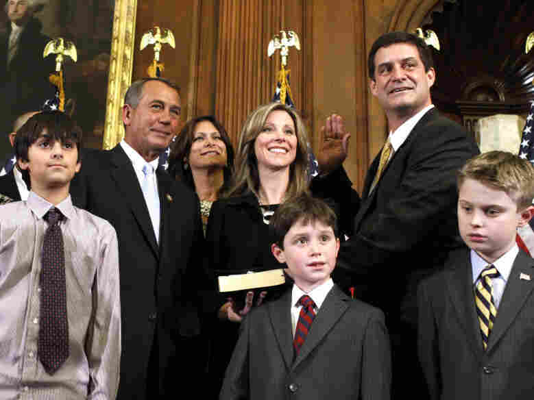 Freshman Rep. Chip Cravaack (R-MN) receives the House oath from House Speaker John Boehner during a mock swearing-in ceremony on Capitol Hill in January.