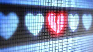 Broken heart on a computer display.
