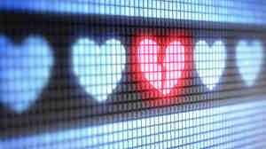 Broken heart on a computer display.