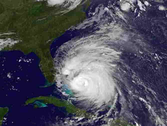 Hurricane Irene churns in the Caribbean Sea on Friday, as seen in this NASA satellite image. The storm is expected to increase in strength as it moves toward the Eastern Seaboard.