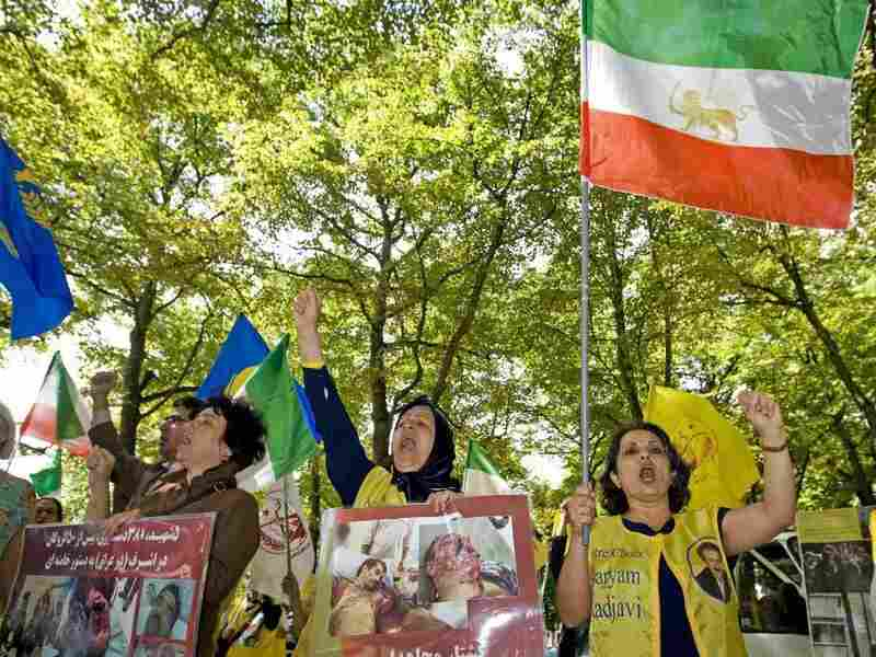 Supporters of the Mujahedeen-e Khalq, an Iranian exile group, demonstrate in front of the U.S. Embassy in The Hague, Netherlands, on Aug. 4, 2009. The U.S. State Department is reviewing the group's status on the Foreign Terrorist Organization list.