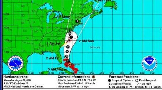 Irene's projected path as of 8 a.m. ET today (Aug. 25, 2011).