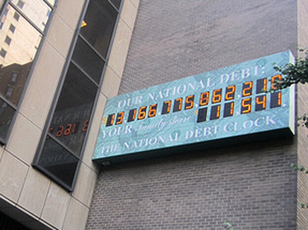 The National Debt Clock, pictured hanging in New York City in 2010, displays a live count of the United States' national debt.