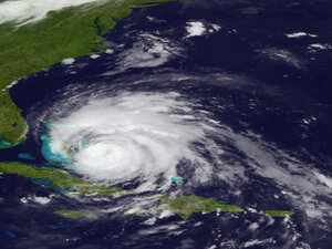 A satellite image showed Hurricane Irene as it raked across the Bahamas on Thursday.