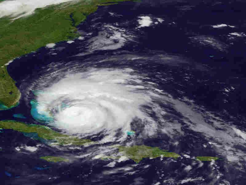 A satellite image showed Hurricane Irene as it raked across the Bahamas on Thursday.