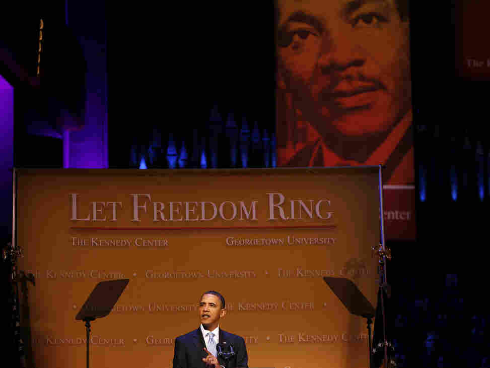 """President Obama delivers remarks at the """"Let Freedom Ring"""" concert at the Kennedy Center on Jan. 18, 2010, in Washington, D.C."""