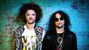 "LMFAO (Redfoo on the left, SkyBlu on the right), so named because the response of SkyBlu's grandmother to their original name, Sexy Dudes, was, ""LMFAO. Are you serious?"""