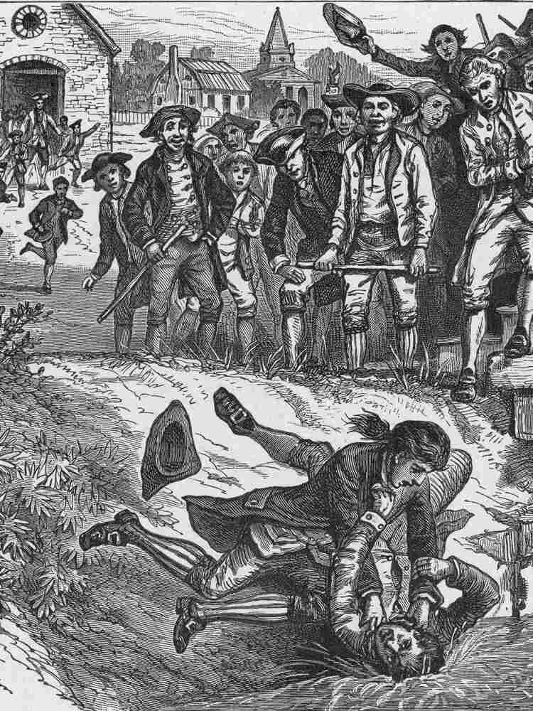 An engraved illustration of fighting during Shays' Rebellion of 1786, circa 1850.