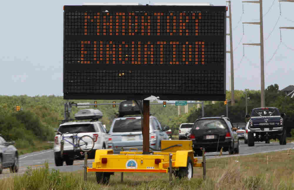 Motorists headed north from Nags Head on North Carolina's Outer Banks on Thursday after a mandatory evacuation was declared in anticipation of Hurricane Irene.