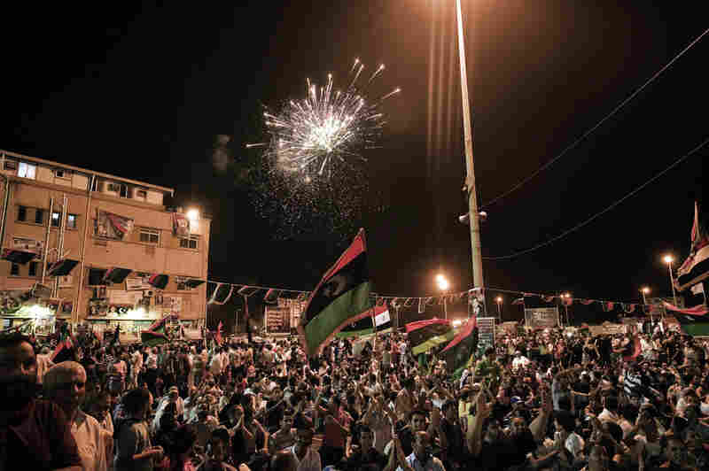 Fireworks light the skies late into the night on Tuesday as Libyans celebrate in Benghazi.