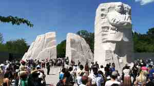 Visitors at the new Martin Luther King, Jr. National Memorial on Tuesday.