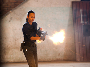 "In this film image released by Columbia Pictures, Zoe Saldana portrays Cataleya in a scene from ""Colombiana."""