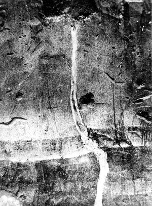 The New Madrid earthquakes broke up rock like this section of rock face, which was later filled with sand. This photo, from Mississippi County, Mo., was taken in 1904.
