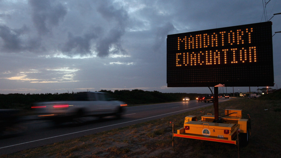 Head inland: Nags Head, N.C., is among the many communities along the East Coast that are, or have been, evacuated as Irene draws near. (Scott Olson/Getty Images)
