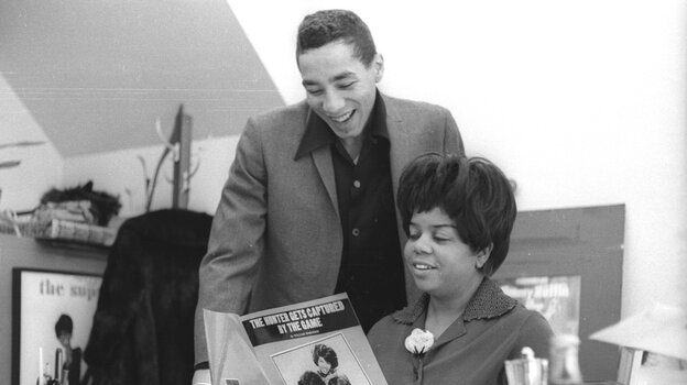 Esther Gordy Edwards, then the vice president of Motown Records, in her Detroit office with Smokey Robinson in 1967.