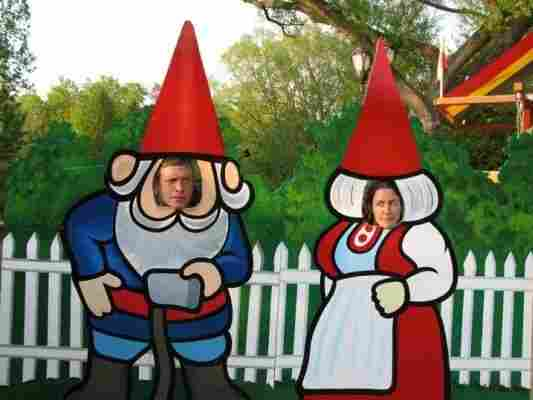 Brad and Coburn try on some gnome outfits while visiting Wisconsin. This was their 2010 Christmas card photo.