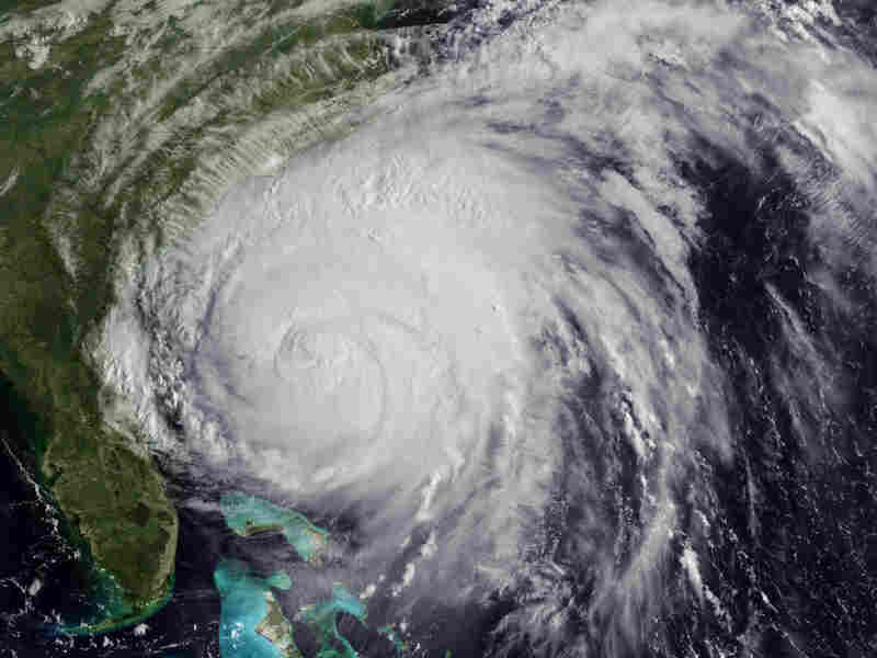 This NOAA satellite image shows Hurricane Irene as it approached the East Coast on Friday.