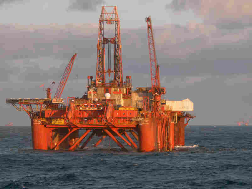 An oil platform in the Norwegian sea.