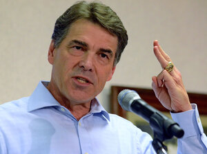 Republican presidential candidate Texas Gov. Rick Perry speaks to supporters in Greenville, S.C. on Aug. 20.
