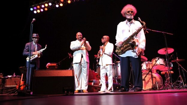 Rollins (far right) on stage at his 80th-birthday concert in New York City. Also pictured (left to right): Ornette Coleman, Christian McBride, Roy Haynes.